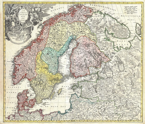 Homann Map of Scandinavia, Norway, Sweden, Denmark, Finland and the Baltics.